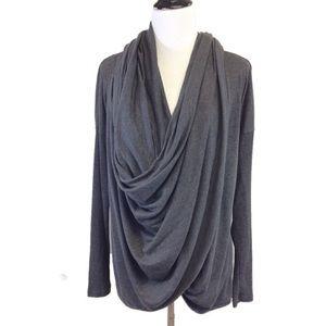 M ALO YOGA grey twist drape front long sleeve top